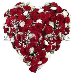 Rosenherz in Rot Weiß aus Rosen